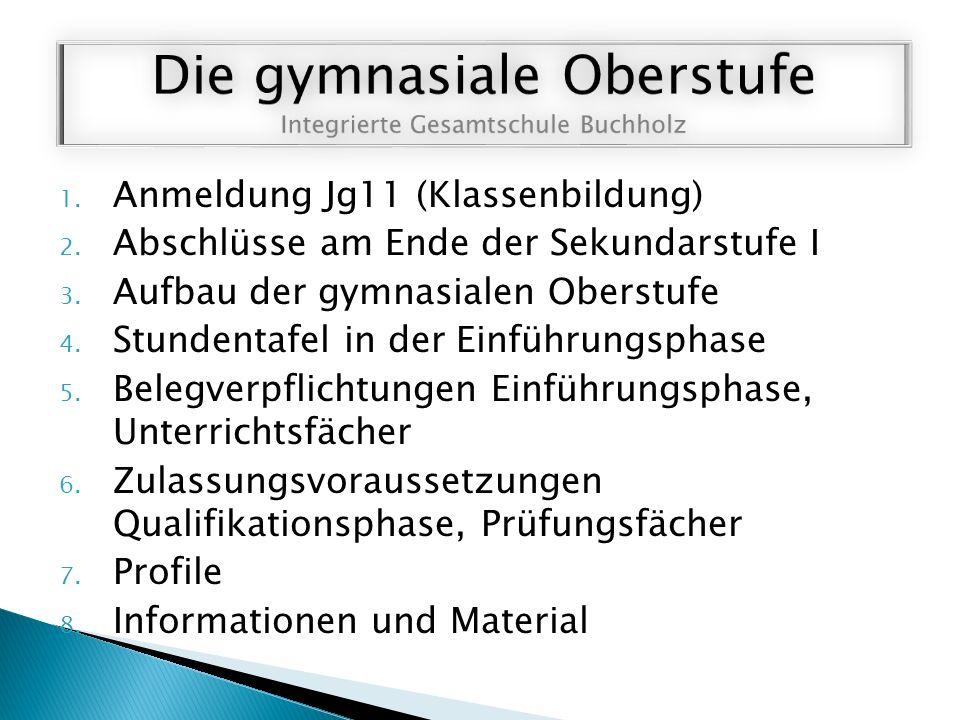 1. Anmeldung Jg11 (Klassenbildung) 2. Abschlüsse am Ende der Sekundarstufe I 3.