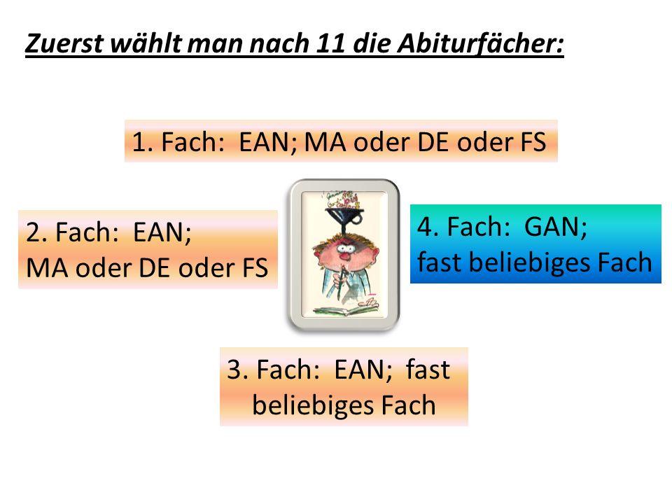 Zuerst wählt man nach 11 die Abiturfächer: 1. Fach: EAN; MA oder DE oder FS 2. Fach: EAN; MA oder DE oder FS 3. Fach: EAN; fast beliebiges Fach 4. Fac