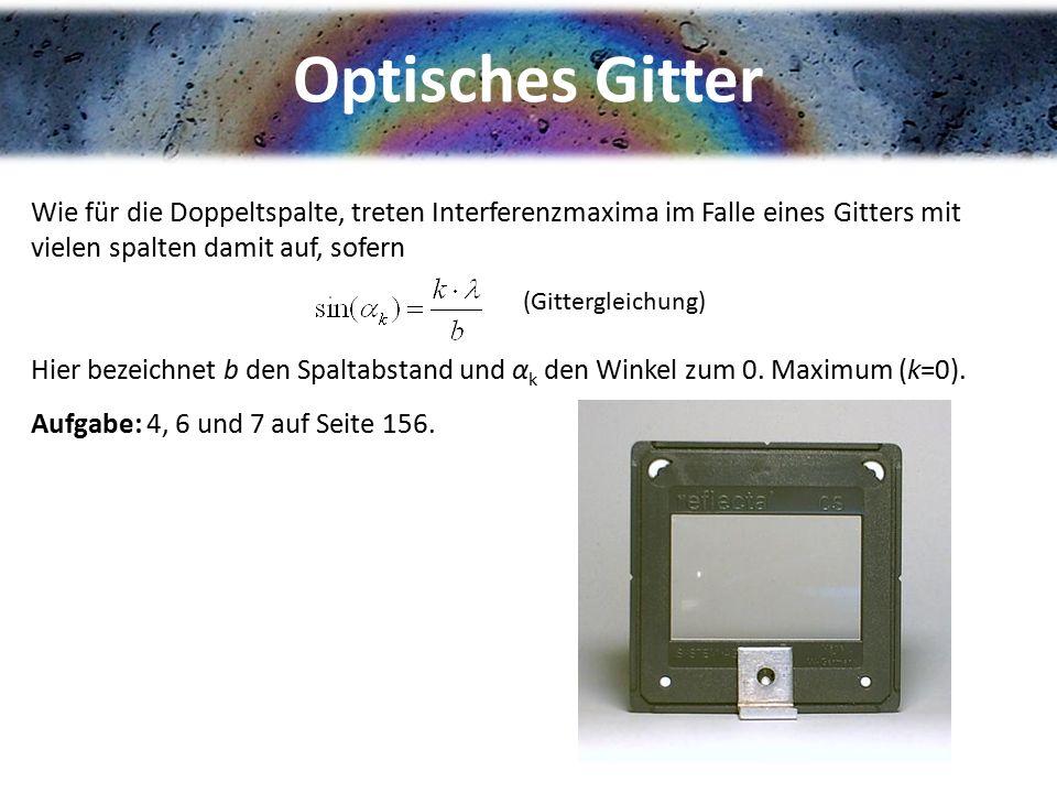 Optisches Gitter Wie für die Doppeltspalte, treten Interferenzmaxima im Falle eines Gitters mit vielen spalten damit auf, sofern Hier bezeichnet b den