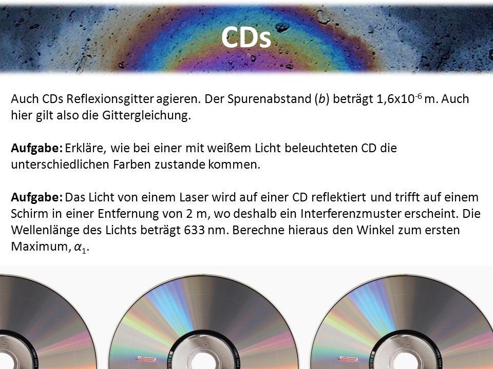 CDs Auch CDs Reflexionsgitter agieren. Der Spurenabstand (b) beträgt 1,6x10 -6 m. Auch hier gilt also die Gittergleichung. Aufgabe: Erkläre, wie bei e