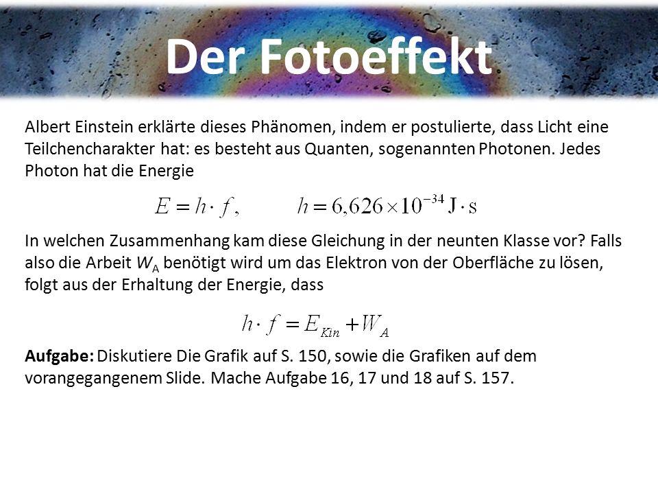 Der Fotoeffekt Albert Einstein erklärte dieses Phänomen, indem er postulierte, dass Licht eine Teilchencharakter hat: es besteht aus Quanten, sogenann