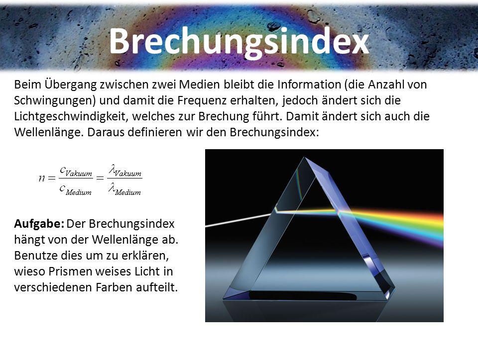 Brechungsindex Beim Übergang zwischen zwei Medien bleibt die Information (die Anzahl von Schwingungen) und damit die Frequenz erhalten, jedoch ändert