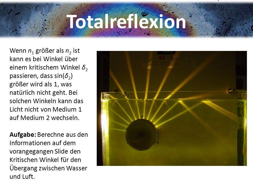 Totalreflexion Wenn n 1 größer als n 2 ist kann es bei Winkel über einem kritischem Winkel δ 2 passieren, dass sin(δ 2 ) größer wird als 1, was natürl