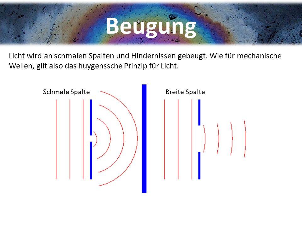 Beugung Licht wird an schmalen Spalten und Hindernissen gebeugt. Wie für mechanische Wellen, gilt also das huygenssche Prinzip für Licht. Schmale Spal