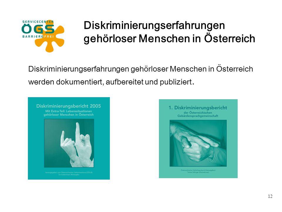 12 Diskriminierungserfahrungen gehörloser Menschen in Österreich werden dokumentiert, aufbereitet und publiziert. Diskriminierungserfahrungen gehörlos