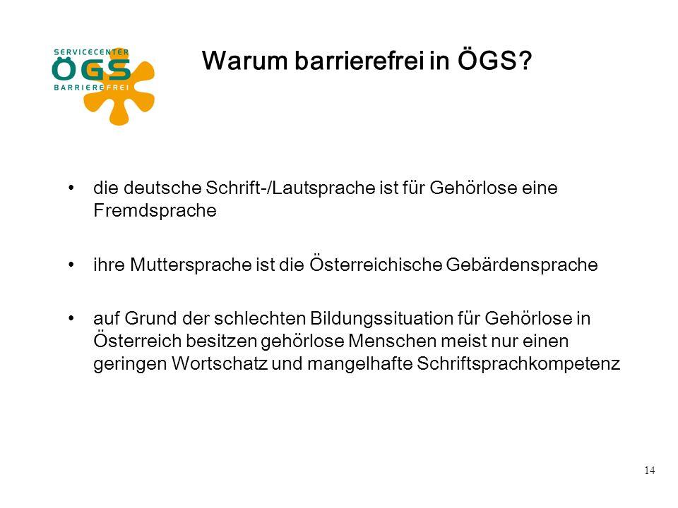 14 Warum barrierefrei in ÖGS? die deutsche Schrift-/Lautsprache ist für Gehörlose eine Fremdsprache ihre Muttersprache ist die Österreichische Gebärde