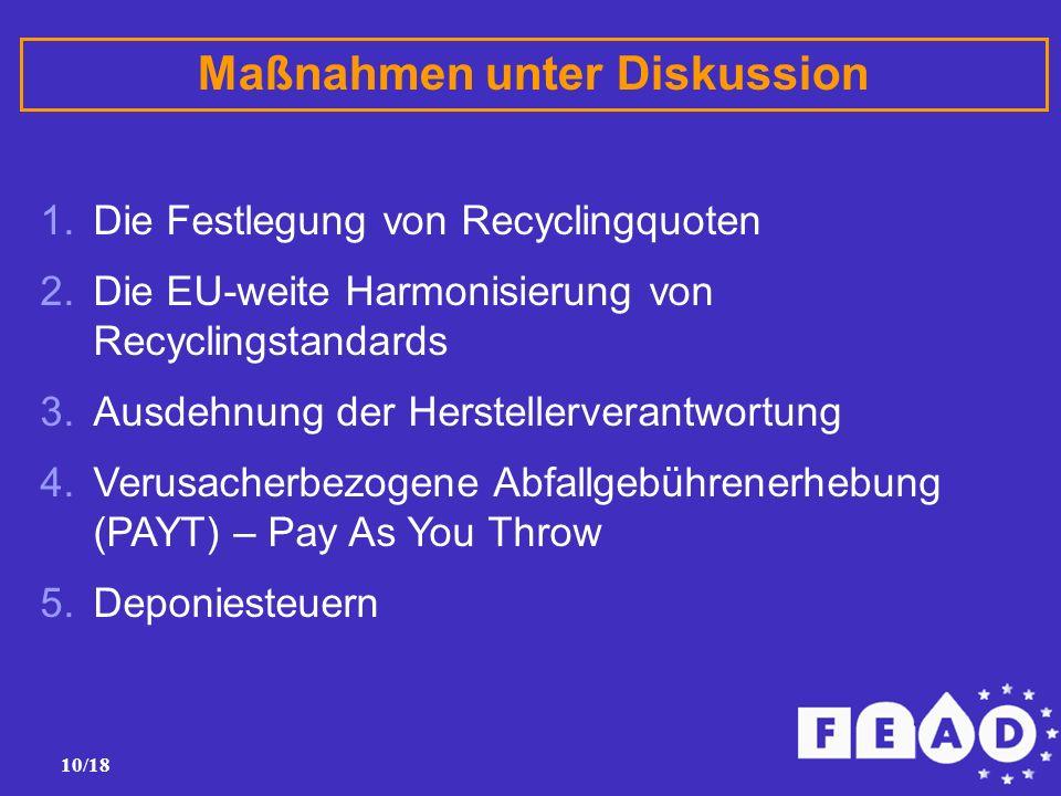 10/18 Maßnahmen unter Diskussion 1.Die Festlegung von Recyclingquoten 2.Die EU-weite Harmonisierung von Recyclingstandards 3.Ausdehnung der Herstellerverantwortung 4.Verusacherbezogene Abfallgebührenerhebung (PAYT) – Pay As You Throw 5.Deponiesteuern