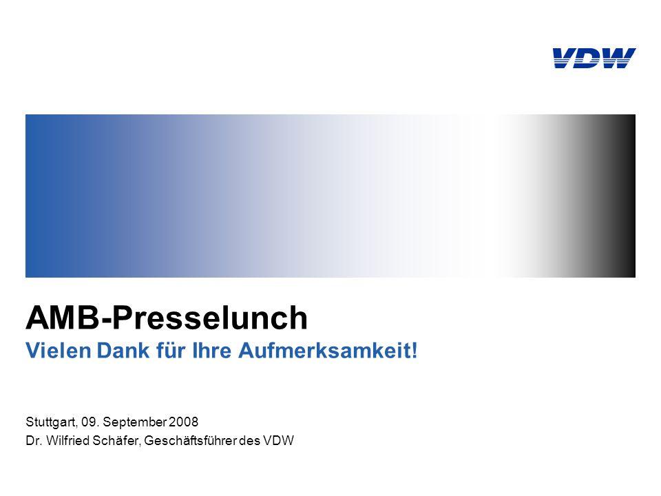 AMB-Presselunch Vielen Dank für Ihre Aufmerksamkeit! Stuttgart, 09. September 2008 Dr. Wilfried Schäfer, Geschäftsführer des VDW