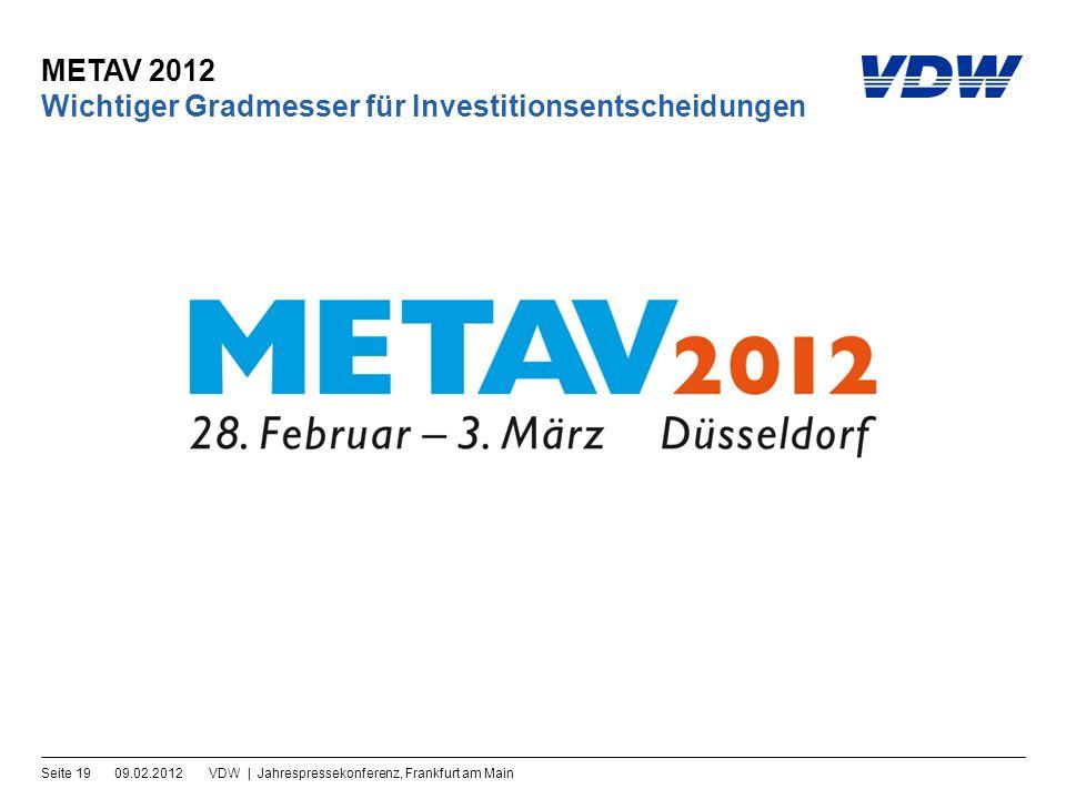 METAV 2012 09.02.2012VDW | Jahrespressekonferenz, Frankfurt am MainSeite 19 Wichtiger Gradmesser für Investitionsentscheidungen