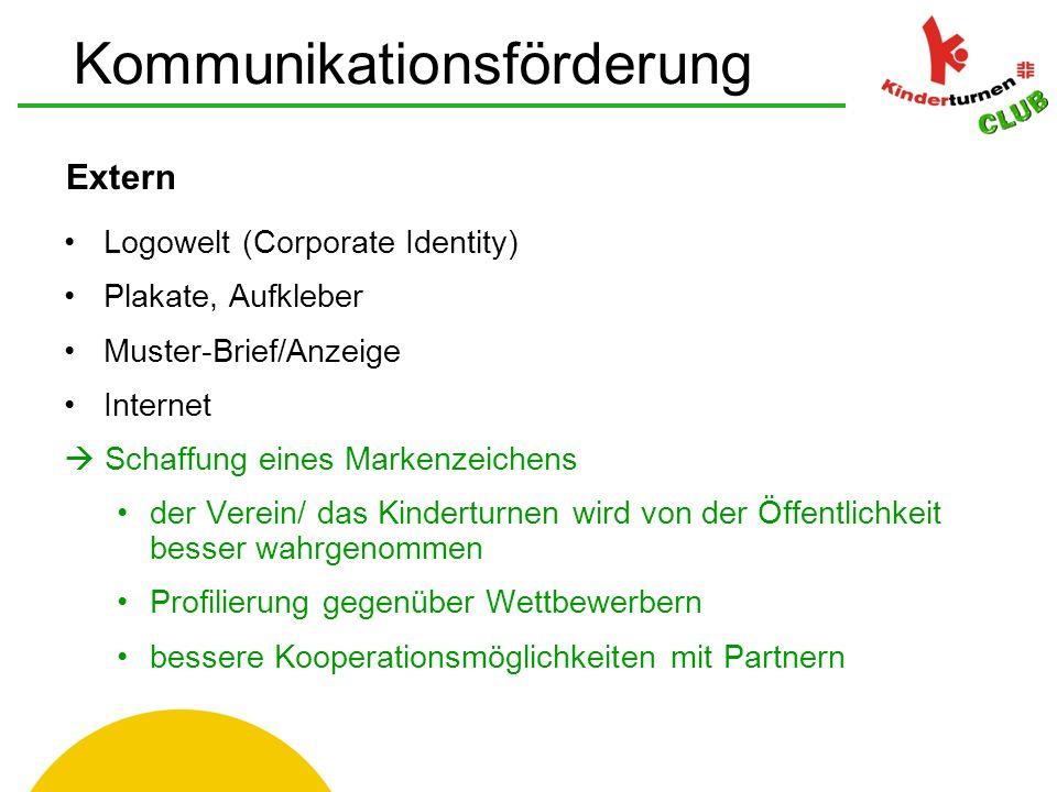 Extern Logowelt (Corporate Identity) Plakate, Aufkleber Muster-Brief/Anzeige Internet  Schaffung eines Markenzeichens der Verein/ das Kinderturnen wird von der Öffentlichkeit besser wahrgenommen Profilierung gegenüber Wettbewerbern bessere Kooperationsmöglichkeiten mit Partnern Kommunikationsförderung