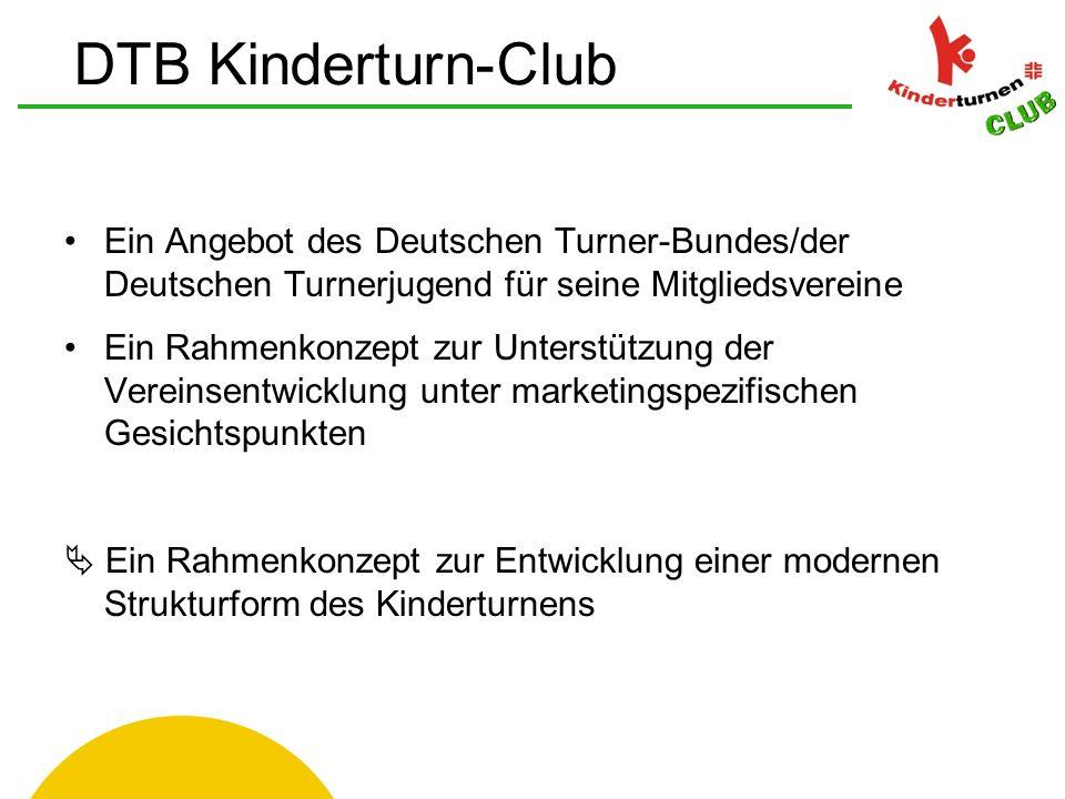 Verein und seine Mitglieder müssen dem jeweiligen Landesturnverband gemeldet sein der Kinderturn-Club im Verein umfasst alle Kinderturn- Angebote des Vereins für Kinder von 4-10 Jahre Bewerbung und Anmeldung erfolgt über das DTB Kinderturn-Club Büro Einrichtung Kinderturn-Club