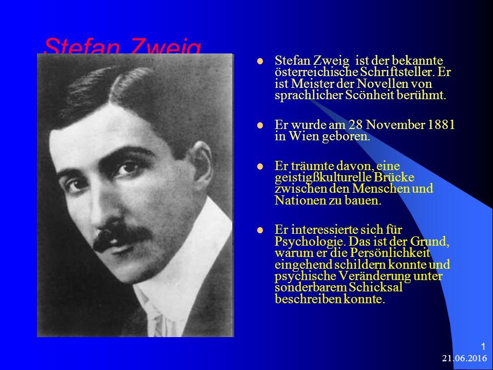 21.06.2016 1 Stefan Zweig Stefan Zweig ist der bekannte österreichische Schriftsteller.