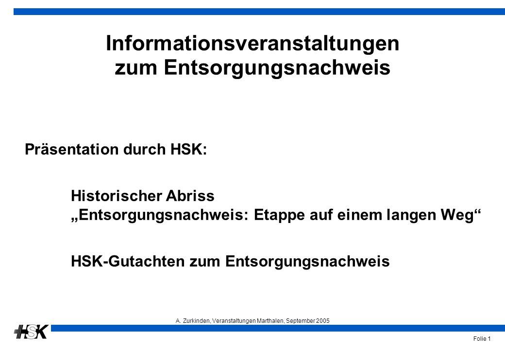 A. Zurkinden, Veranstaltungen Marthalen, September 2005 Folie 1 Informationsveranstaltungen zum Entsorgungsnachweis Präsentation durch HSK: Historisch