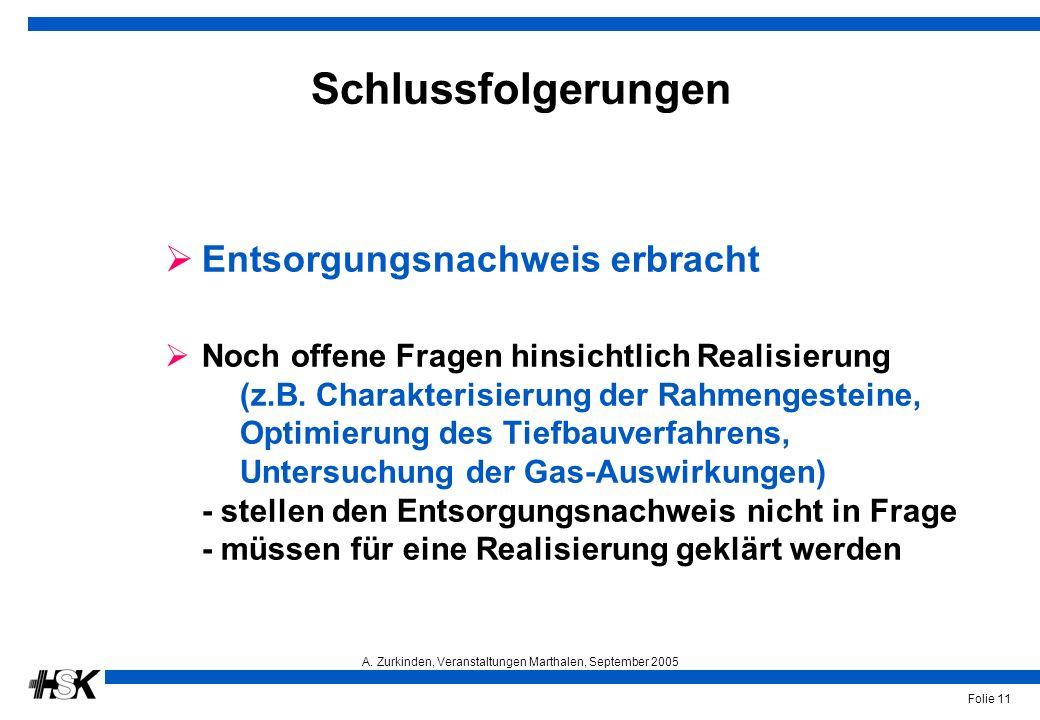 A. Zurkinden, Veranstaltungen Marthalen, September 2005 Folie 11 Schlussfolgerungen  Entsorgungsnachweis erbracht  Noch offene Fragen hinsichtlich R