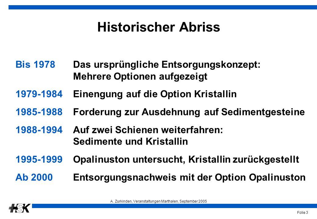 A. Zurkinden, Veranstaltungen Marthalen, September 2005 Folie 3 Historischer Abriss Bis 1978Das ursprüngliche Entsorgungskonzept: Mehrere Optionen auf