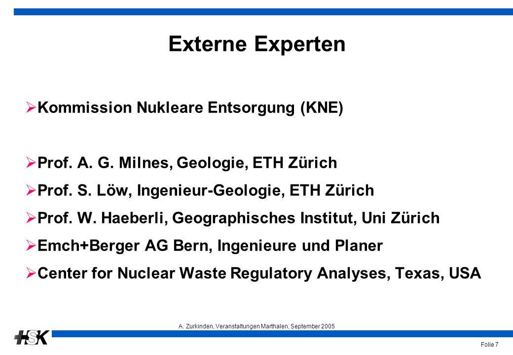 A. Zurkinden, Veranstaltungen Marthalen, September 2005 Folie 7 Externe Experten  Kommission Nukleare Entsorgung (KNE)  Prof. A. G. Milnes, Geologie