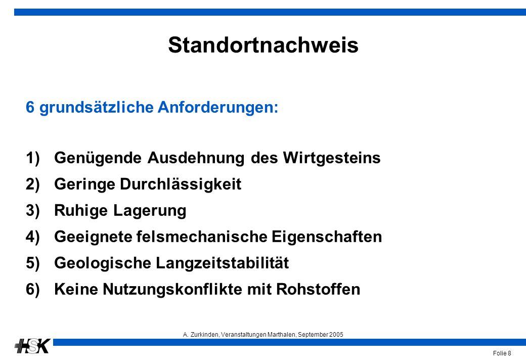 A. Zurkinden, Veranstaltungen Marthalen, September 2005 Folie 8 Standortnachweis 6 grundsätzliche Anforderungen: 1)Genügende Ausdehnung des Wirtgestei
