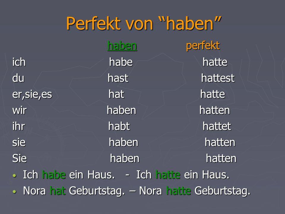 """Perfekt von """"haben"""" haben perfekt haben perfekt ich habe hatte du hast hattest er,sie,es hat hatte wir haben hatten ihr habt hattet sie haben hatten S"""