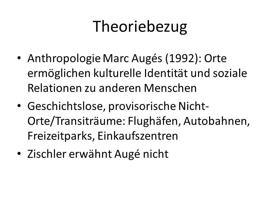 Theoriebezug Anthropologie Marc Augés (1992): Orte ermöglichen kulturelle Identität und soziale Relationen zu anderen Menschen Geschichtslose, provisorische Nicht- Orte/Transiträume: Flughäfen, Autobahnen, Freizeitparks, Einkaufszentren Zischler erwähnt Augé nicht