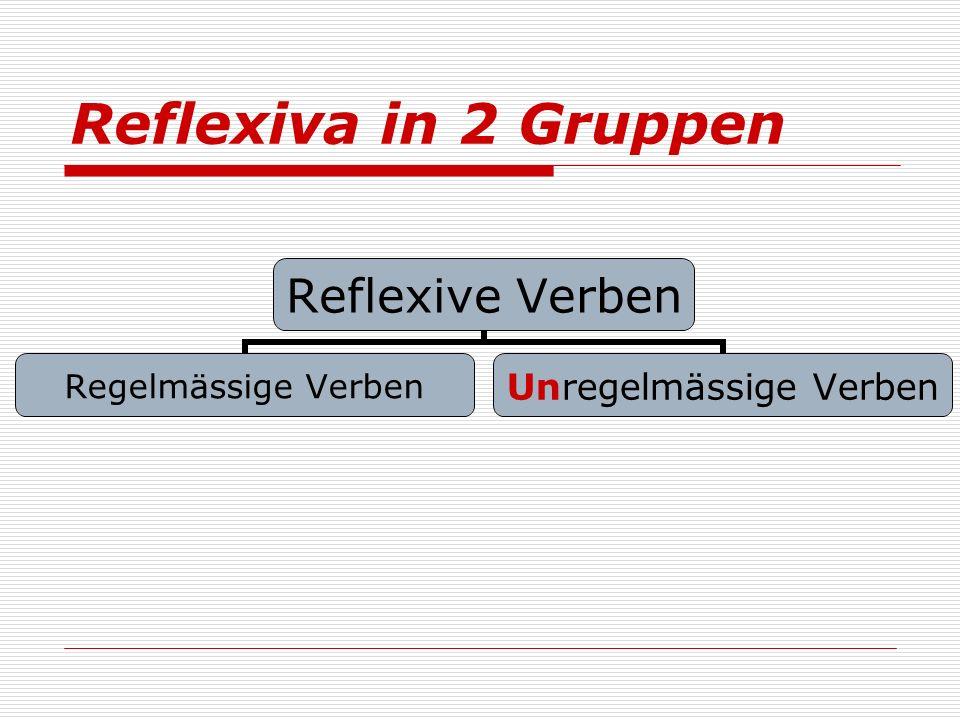 Reflexiva in 2 Gruppen Reflexive Verben Regelmässige Verben Unregelmässige Verben