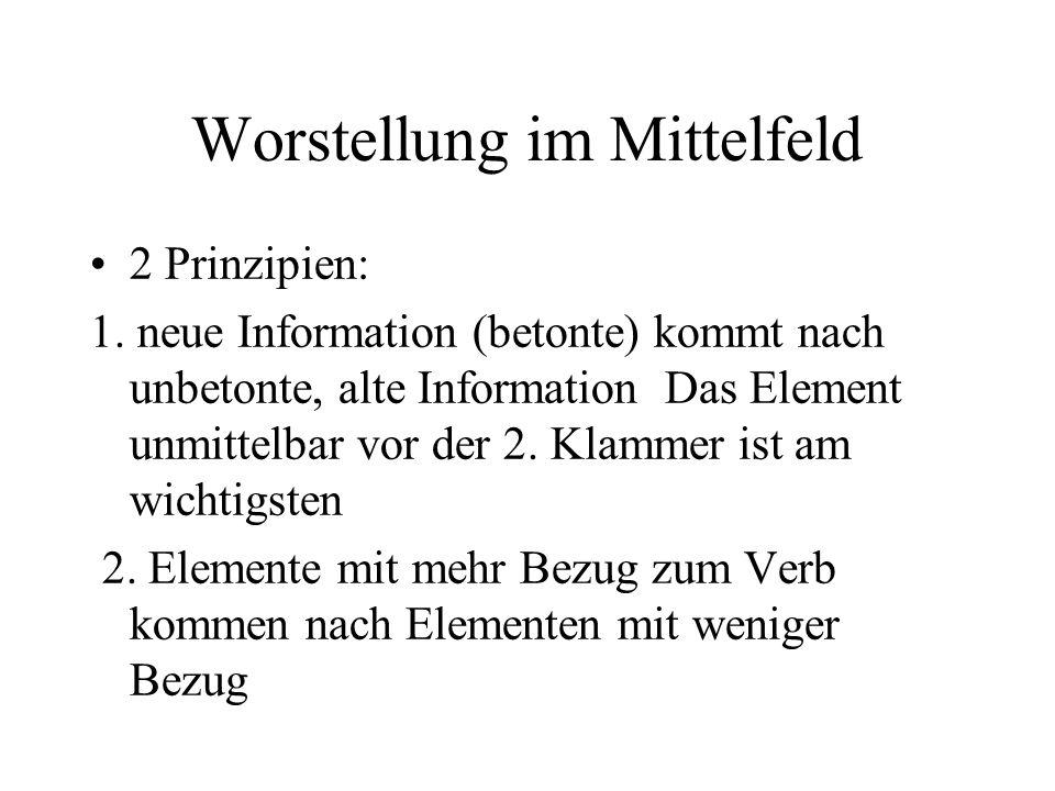 Worstellung im Mittelfeld 2 Prinzipien: 1.