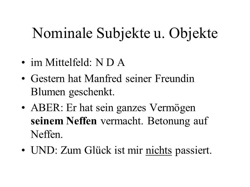 Nominale Subjekte u.