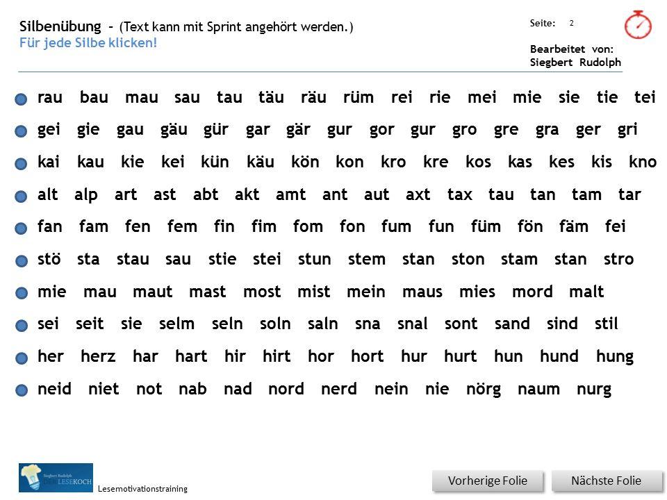 Übungsart: Seite: Bearbeitet von: Siegbert Rudolph Lesemotivationstraining 2 Silbenübung – (Text kann mit Sprint angehört werden.) Für jede Silbe klicken.