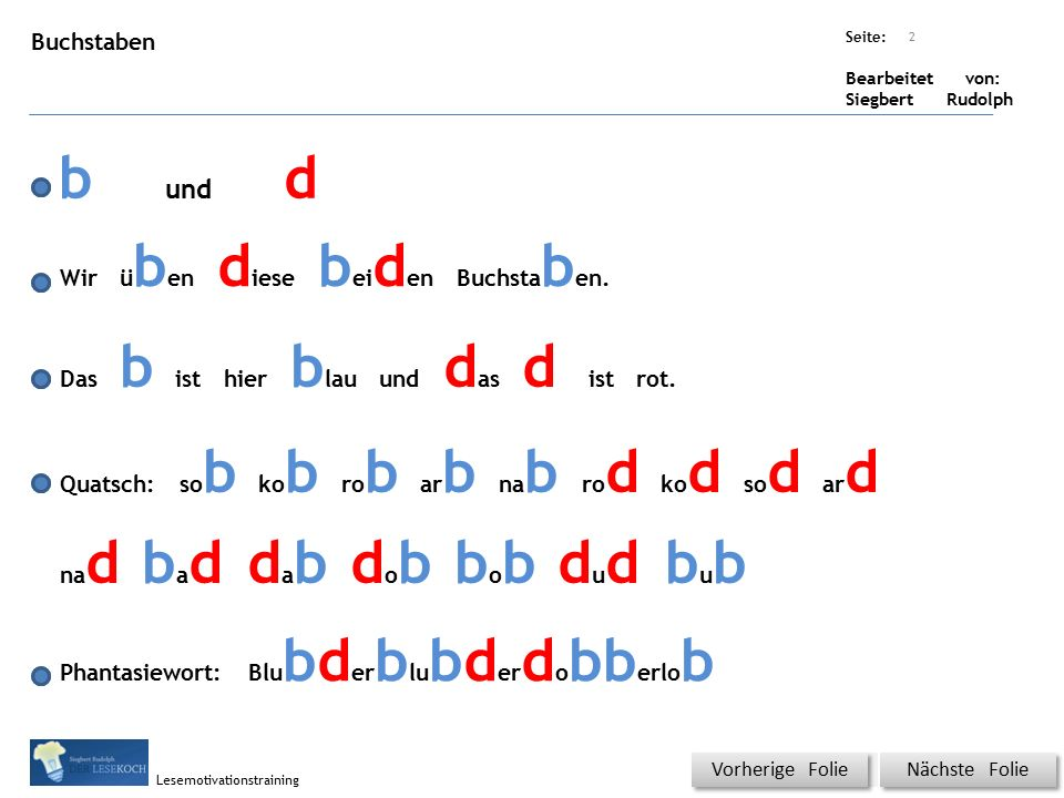Übungsart: Seite: Bearbeitet von: Siegbert Rudolph Lesemotivationstraining Buchstaben b und d Wir ü b en d iese b ei d en Buchsta b en.