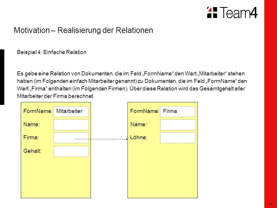 """14 Motivation – Realisierung der Relationen Beispiel 4: Einfache Relation Es gebe eine Relation von Dokumenten, die im Feld """"FormName den Wert """"Mitarbeiter stehen haben (im Folgenden einfach Mitarbeiter genannt) zu Dokumenten, die im Feld """"FormName den Wert """"Firma enthalten (im Folgenden Firmen)."""