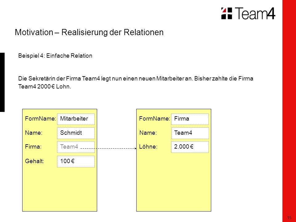 15 Motivation – Realisierung der Relationen Beispiel 4: Einfache Relation Die Sekretärin der Firma Team4 legt nun einen neuen Mitarbeiter an.
