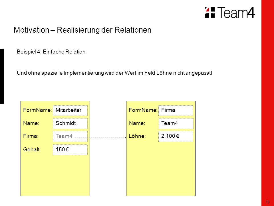 18 Motivation – Realisierung der Relationen Beispiel 4: Einfache Relation Und ohne spezielle Implementierung wird der Wert im Feld Löhne nicht angepasst.