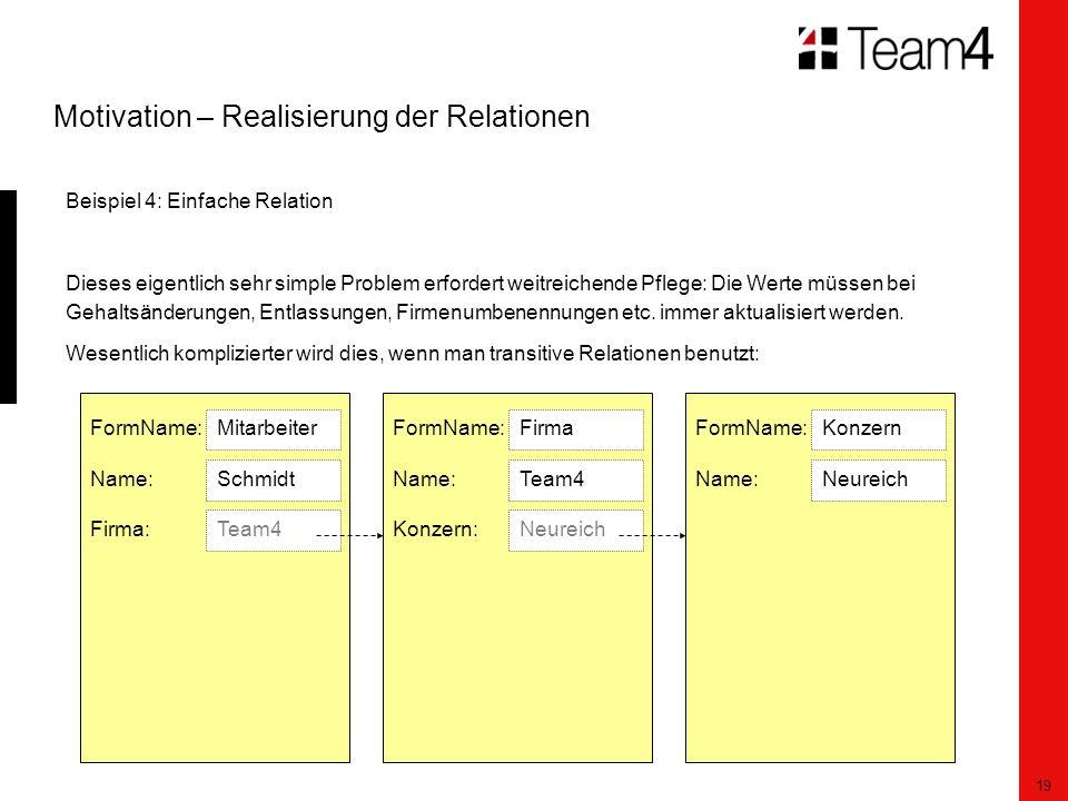 19 Motivation – Realisierung der Relationen Beispiel 4: Einfache Relation Dieses eigentlich sehr simple Problem erfordert weitreichende Pflege: Die Werte müssen bei Gehaltsänderungen, Entlassungen, Firmenumbenennungen etc.