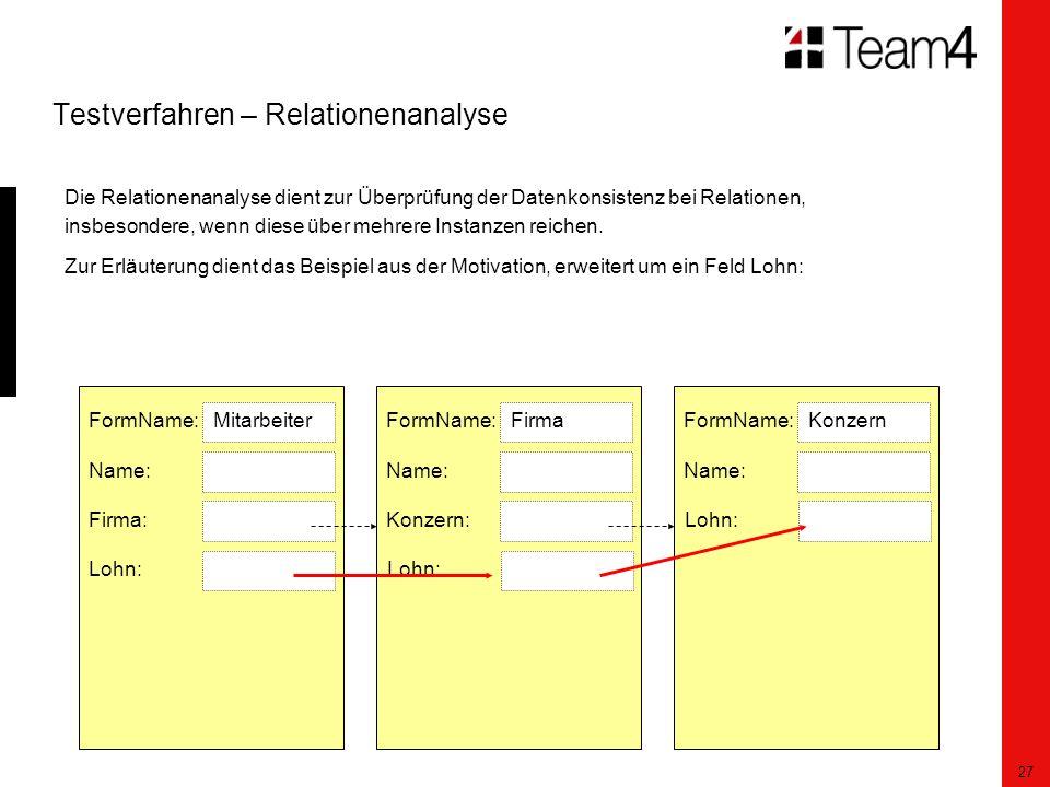 27 Testverfahren – Relationenanalyse Die Relationenanalyse dient zur Überprüfung der Datenkonsistenz bei Relationen, insbesondere, wenn diese über mehrere Instanzen reichen.