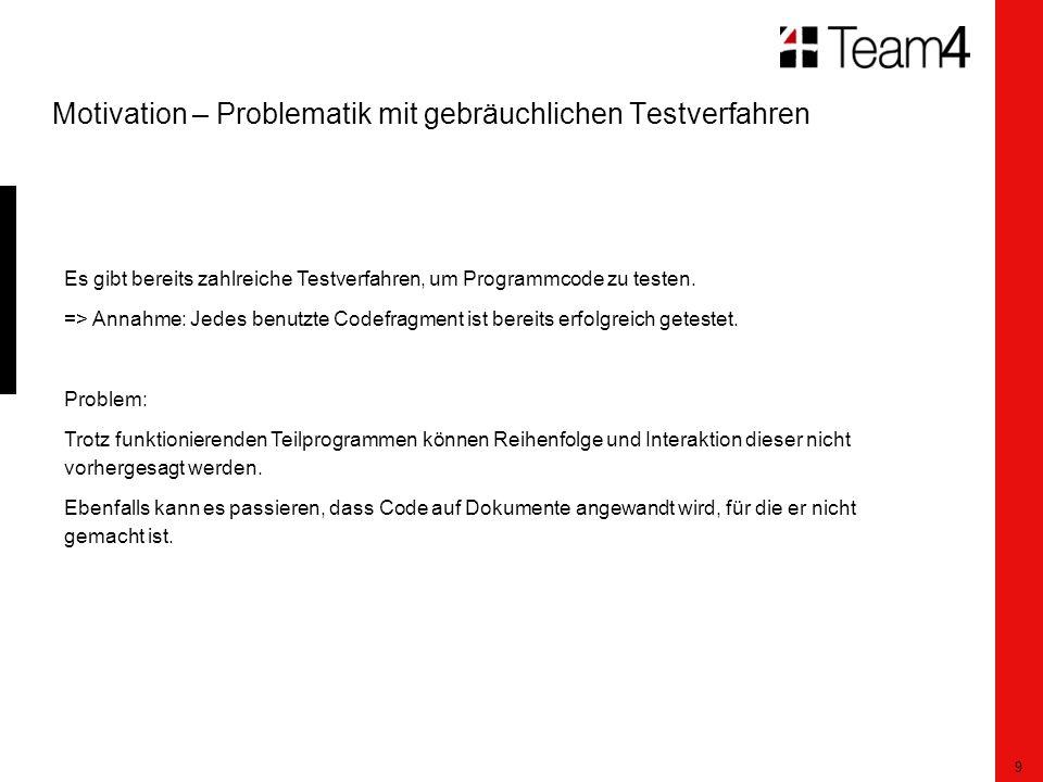9 Motivation – Problematik mit gebräuchlichen Testverfahren Es gibt bereits zahlreiche Testverfahren, um Programmcode zu testen.