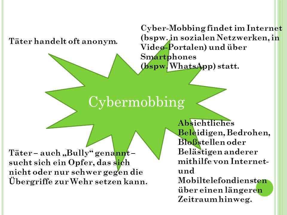 Cybermobbing Absichtliches Beleidigen, Bedrohen, Bloßstellen oder Belästigen anderer mithilfe von Internet- und Mobiltelefondiensten über einen längeren Zeitraum hinweg.