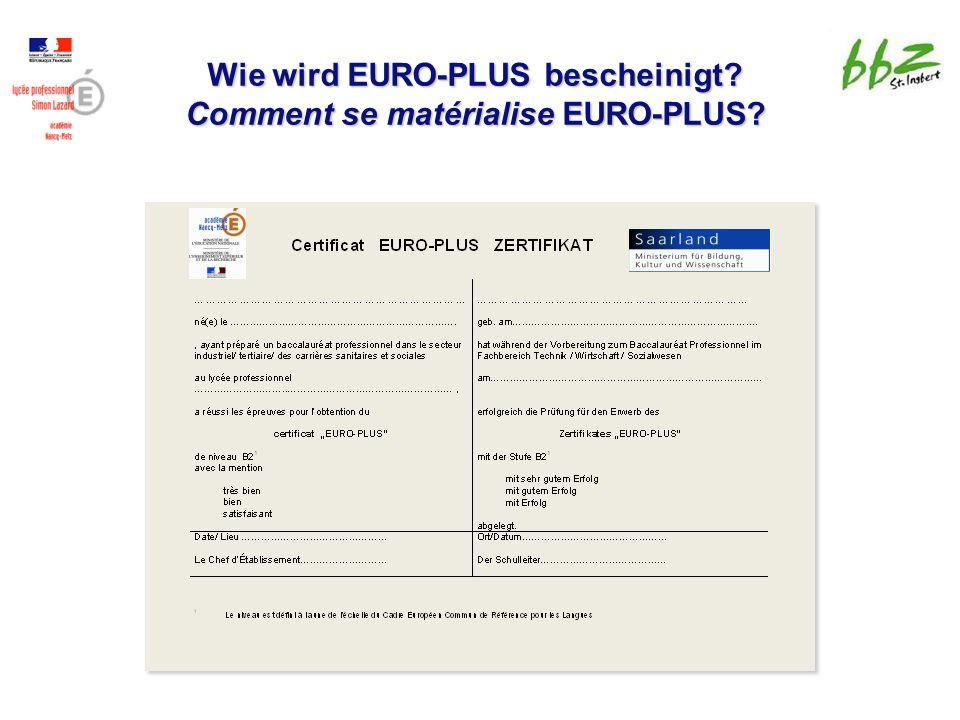Wie wird EURO-PLUS bescheinigt Comment se matérialise EURO-PLUS