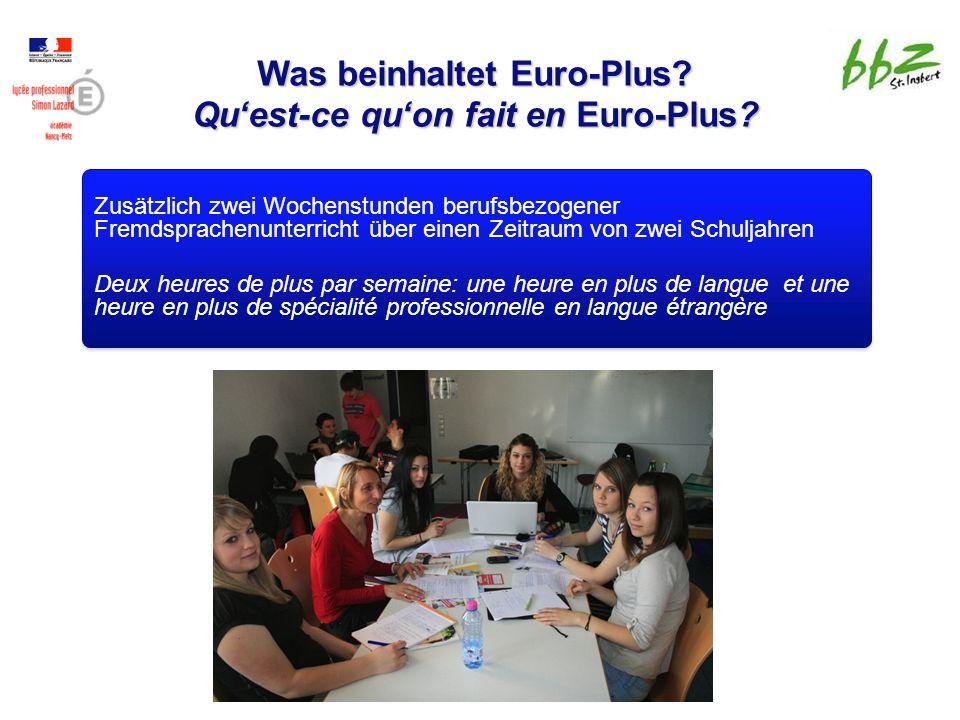 Was beinhaltet Euro-Plus. Qu'est-ce qu'on fait en Euro-Plus.