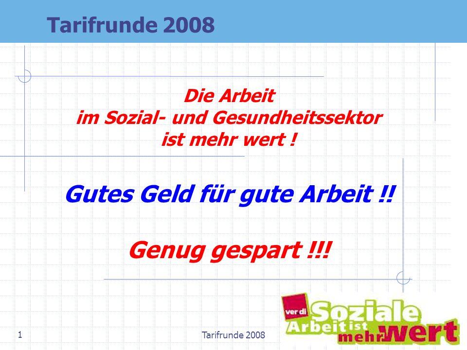 Tarifrunde 2008 1 Die Arbeit im Sozial- und Gesundheitssektor ist mehr wert ! Gutes Geld für gute Arbeit !! Genug gespart !!! Tarifrunde 2008