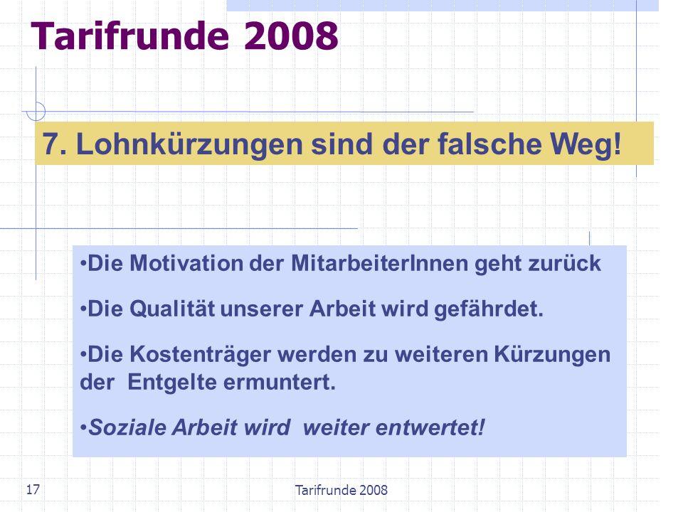 Tarifrunde 2008 17 Tarifrunde 2008 7. Lohnkürzungen sind der falsche Weg! Die Motivation der MitarbeiterInnen geht zurück Die Qualität unserer Arbeit
