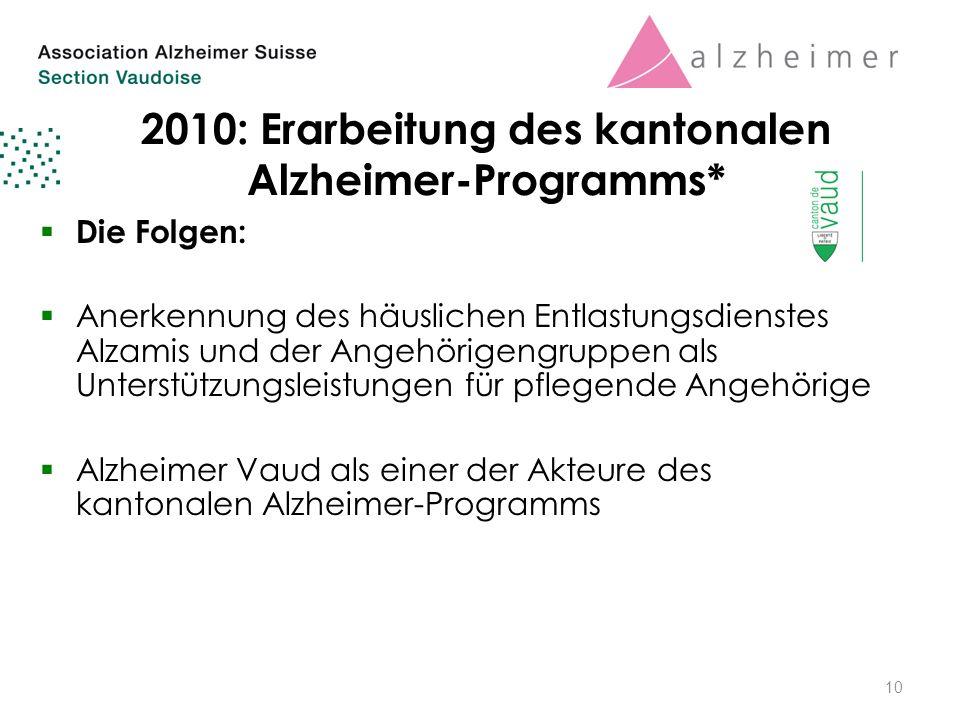 2010: Erarbeitung des kantonalen Alzheimer-Programms*  Die Folgen:  Anerkennung des häuslichen Entlastungsdienstes Alzamis und der Angehörigengruppen als Unterstützungsleistungen für pflegende Angehörige  Alzheimer Vaud als einer der Akteure des kantonalen Alzheimer-Programms 10