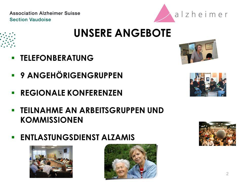 UNSERE ANGEBOTE  TELEFONBERATUNG  9 ANGEHÖRIGENGRUPPEN  REGIONALE KONFERENZEN  TEILNAHME AN ARBEITSGRUPPEN UND KOMMISSIONEN  ENTLASTUNGSDIENST ALZAMIS 2