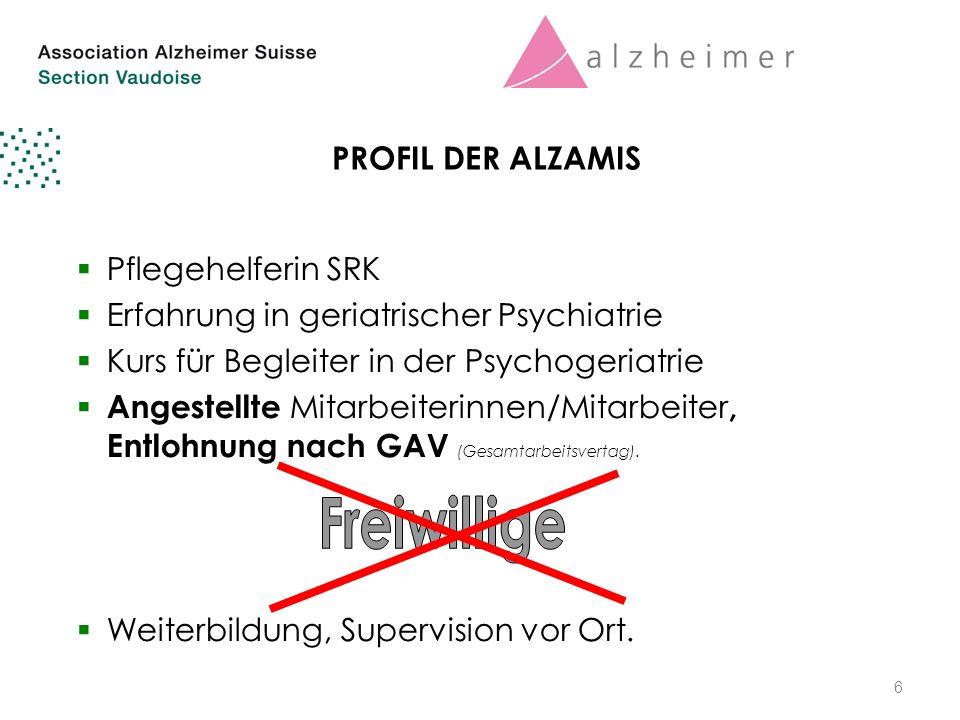 6 PROFIL DER ALZAMIS  Pflegehelferin SRK  Erfahrung in geriatrischer Psychiatrie  Kurs für Begleiter in der Psychogeriatrie  Angestellte Mitarbeiterinnen/Mitarbeiter, Entlohnung nach GAV (Gesamtarbeitsvertag).
