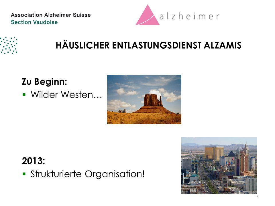 7 HÄUSLICHER ENTLASTUNGSDIENST ALZAMIS Zu Beginn:  Wilder Westen… 2013:  Strukturierte Organisation.