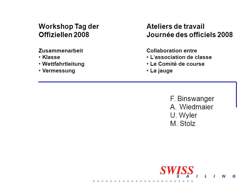 F. Binswanger A.Wiedmaier U. Wyler M. Stolz Workshop Tag der Offiziellen 2008 Zusammenarbeit Klasse Wettfahrtleitung Vermessung Ateliers de travail Jo