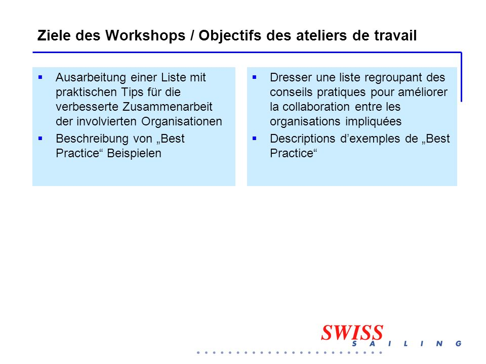 Ziele des Workshops / Objectifs des ateliers de travail  Ausarbeitung einer Liste mit praktischen Tips für die verbesserte Zusammenarbeit der involvi