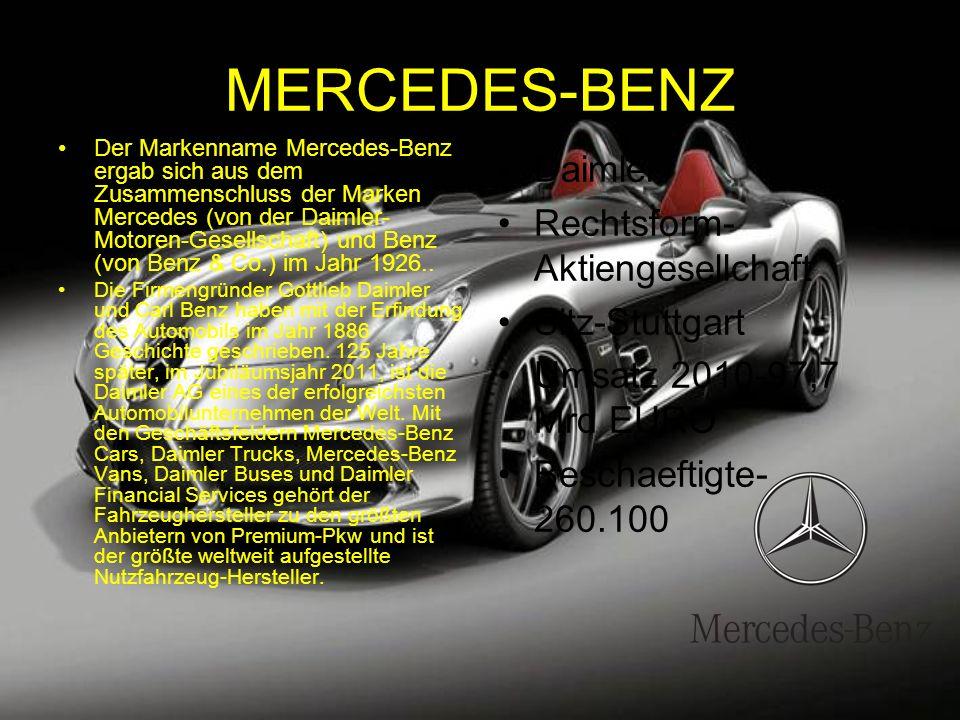 MERCEDES-BENZ Der Markenname Mercedes-Benz ergab sich aus dem Zusammenschluss der Marken Mercedes (von der Daimler- Motoren-Gesellschaft) und Benz (von Benz & Co.) im Jahr 1926..