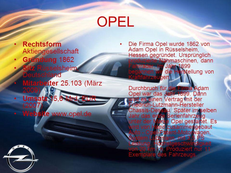 OPEL Rechtsform Aktiengesellschaft Gründung 1862 Sitz Rüsselsheim, Deutschland Mitarbeiter 25.103 (März 2009) Umsatz 15,6 Mrd.