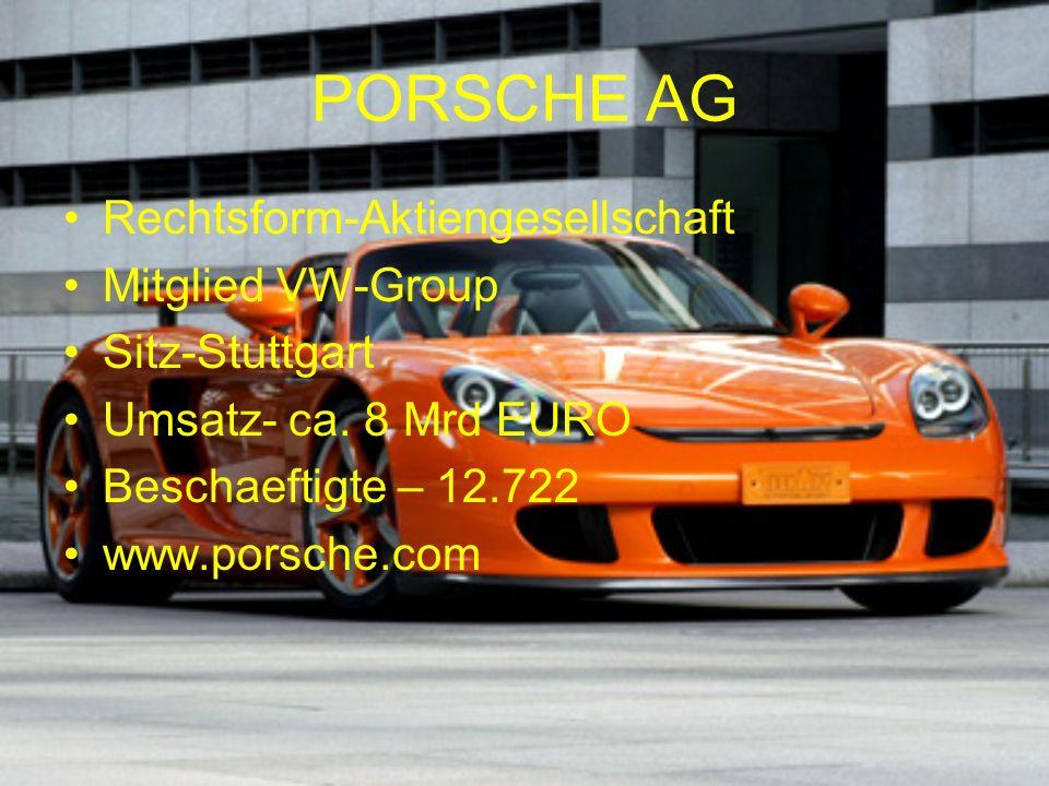 PORSCHE AG Rechtsform-Aktiengesellschaft Mitglied VW-Group Sitz-Stuttgart Umsatz- ca.