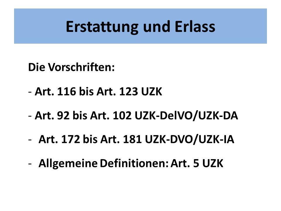 Erstattung und Erlass Die Vorschriften: - Art.116 bis Art.