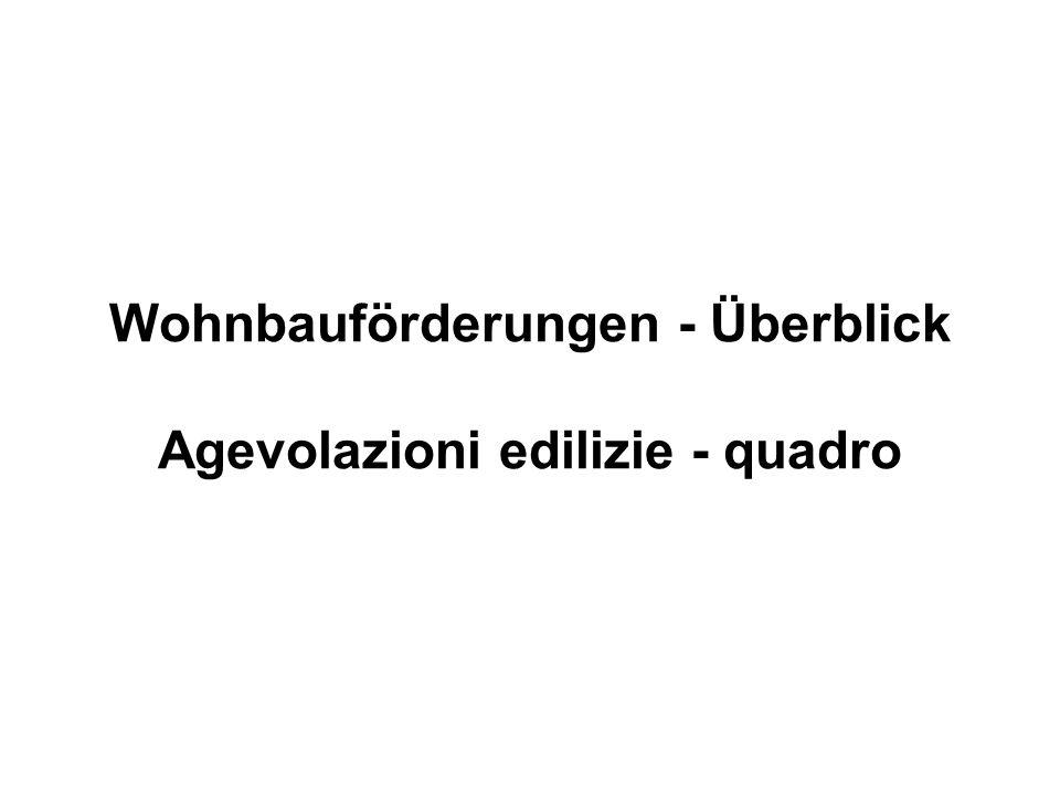 Wohnbauförderungen - Überblick Agevolazioni edilizie - quadro